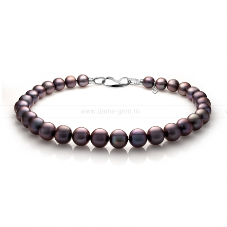 Ожерелье из 30 жемчужин из черного речного жемчуга 13-16 мм. Артикул 10947