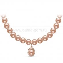 Ожерелье с кулоном из розового круглого речного жемчуга 9-10 мм. Артикул 10949