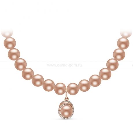 Ожерелье с кулоном из розового круглого речного жемчуга 8,5-9,5 мм. Артикул 10949