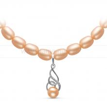 Ожерелье с кулоном из розового рисообразного жемчуга 7,5-8 мм. Артикул 10954