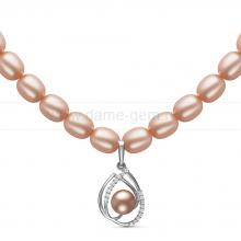 Ожерелье с кулоном из розового рисообразного жемчуга 7,5-8 мм. Артикул 10956