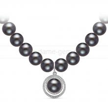 Ожерелье с кулоном из черного речного жемчуга. Артикул 10957
