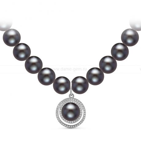 Ожерелье с кулоном из черного круглого речного жемчуга 9-10 мм. Артикул 10957