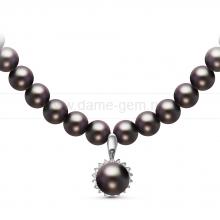 Ожерелье с кулоном из черного круглого речного жемчуга 7,5-8 мм. Артикул 10958