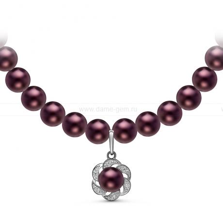 Ожерелье с кулоном из черного круглого речного жемчуга 7-7,5 мм. Артикул 10959