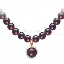 Ожерелье с кулоном из черного круглого речного жемчуга 7,5-8 мм. Артикул 10960