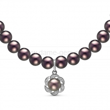 Ожерелье с кулоном из черного круглого речного жемчуга 7,5-8 мм. Артикул 10963