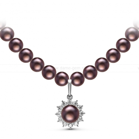 Ожерелье с кулоном из черного круглого речного жемчуга 7,5-8 мм. Артикул 10964