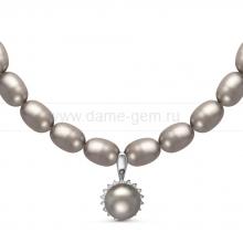 Ожерелье с кулоном из серого рисообразного речного жемчуга 9-10 мм. Артикул 10965