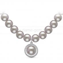 Ожерелье с кулоном из серого круглого речного жемчуга 9-10 мм. Артикул 10966