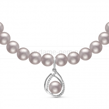 Ожерелье с кулоном из серого круглого речного жемчуга 7-7,5 мм. Артикул 10967