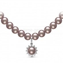 Ожерелье с кулоном из серого речного жемчуга. Артикул 10968