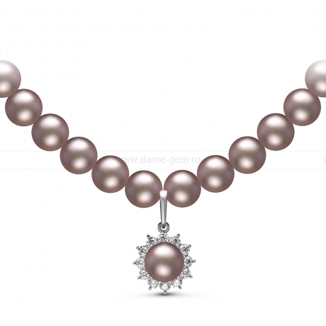 Ожерелье с кулоном из серого круглого речного жемчуга 8-8,5 мм. Артикул 10968