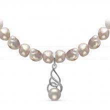 Ожерелье с кулоном из серого барочного речного жемчуга 8-8,5 мм. Артикул 10969