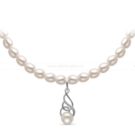 Ожерелье с кулоном из белого речного жемчуга. Артикул 10970