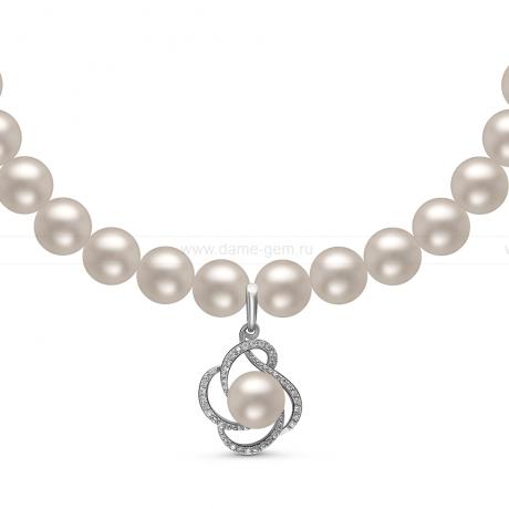 Ожерелье c кулоном из белого круглого речного жемчуга 8-8,5 мм. Артикул 10971