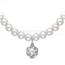 Ожерелье c кулоном из белого речного жемчуга. Артикул 10972