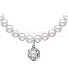 Ожерелье c кулоном из белого круглого речного жемчуга 6-6,5 мм. Артикул 10972