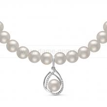 Ожерелье c кулоном из белого круглого речного жемчуга 8-8,5 мм. Артикул 10974