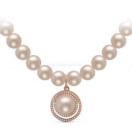 Ожерелье c кулоном из белого круглого речного жемчуга 8-8,5 мм. Артикул 10976
