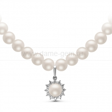 Ожерелье c кулоном из белого круглого речного жемчуга 8-8,5 мм. Артикул 10977