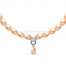 Ожерелье c кулоном из розового речного жемчуга. Артикул 10978