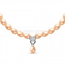 Ожерелье c кулоном из розового рисообразного речного жемчуга 6-6,5 мм. Артикул 10978