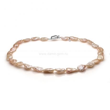 Колье (ожерелье) из розового барочного жемчуга 10-13 мм. Артикул 10983