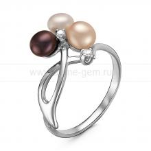 Кольцо с розовой, белой и черной жемчужинами. Артикул 10987