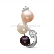 Кулон с белой, розовой и черной жемчужинами. Артикул 10988