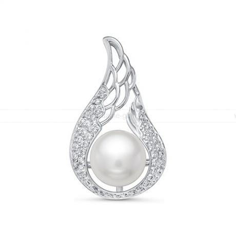 Кулон серебряный с белой речной жемчужиной 8,5-9 мм. Артикул 10989