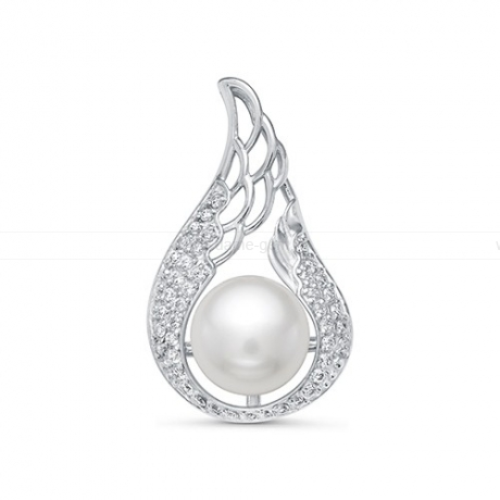 Кулон серебряный с белой жемчужиной 8,5-9 мм. Артикул 10989