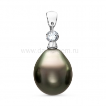 Кулон из серебра с черной Таитянской жемчужиной 10-10,5 мм. Артикул 10990