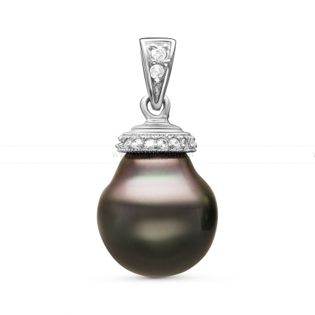 Кулон из серебра с черной Таитянской жемчужиной 11,6-11,9 мм. Артикул 10992
