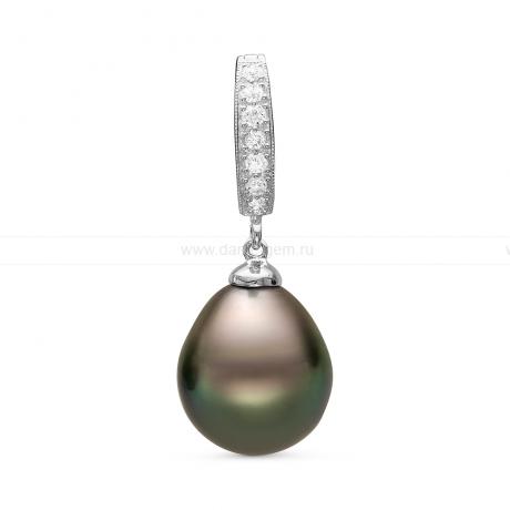 Кулон из серебра с черной Таитянской жемчужиной 12-12,5 мм. Артикул 10993
