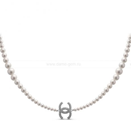 Бусы из белого круглого речного жемчуга 5-11 мм со вставками из серебра. Артикул 11000