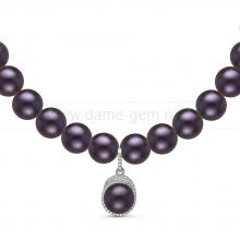 Ожерелье с кулоном из черного круглого речного жемчуга 7,5-8 мм. Артикул 11004