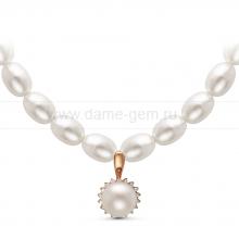 Ожерелье c кулоном из белого рисообразного речного жемчуга 7,5-8 мм. Артикул 11006