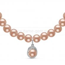 Ожерелье с кулоном из розового круглого речного жемчуга 6-6,5 мм. Артикул 11008