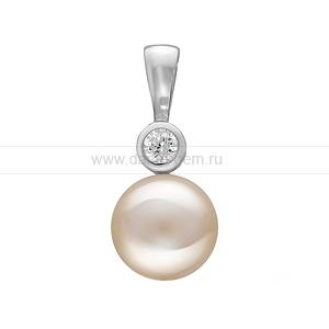 Кулон из серебра с белой жемчужиной 9-9,5 мм. Артикул 11011