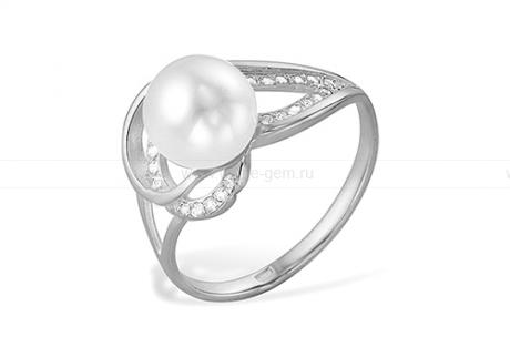 Кольцо из серебра 925 пробы с белой речной жемчужиной 8-8,5 мм. Артикул 11016