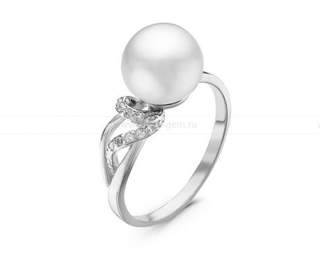 Кольцо из серебра 925 пробы с белой речной жемчужиной 8,5 мм. Артикул 11017