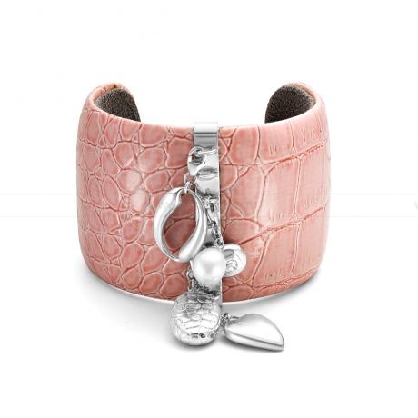 Браслет кожаный с подвесками из серебра. Артикул 11025