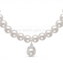 Ожерелье с кулоном из белого круглого речного жемчуга 7-7,5 мм. Артикул 11053