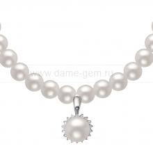 Ожерелье c кулоном из белого круглого речного жемчуга 9-10 мм. Артикул 11054