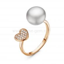 """Двойное кольцо """"Dior"""" с белой жемчужиной 9,5-10 мм. Артикул 11056"""