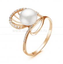 Кольцо из серебра с белой речной жемчужиной. Артикул 11057
