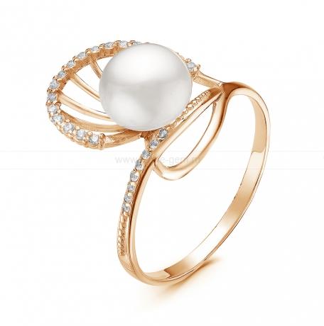 Кольцо из серебра с белой жемчужиной 7-7,5 мм. Артикул 11057