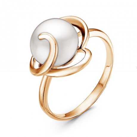 Кольцо из серебра с белой жемчужиной 10,5-11 мм. Артикул 11060