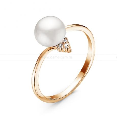 Кольцо из серебра с белой жемчужиной 7-7,5 мм. Артикул 11061
